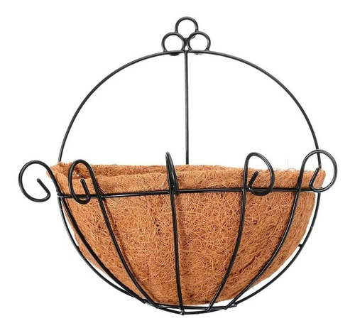 Vaso Fibra De Coco Meio Vaso Parede Com Suporte 30cm