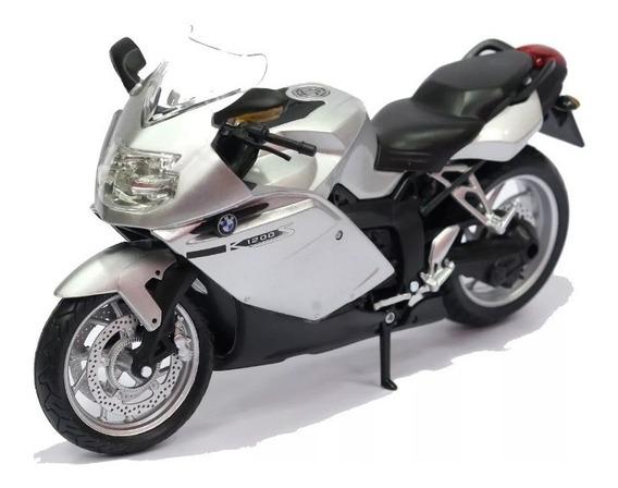 Miniatura Moto Bmw K1200s Prata 1/12