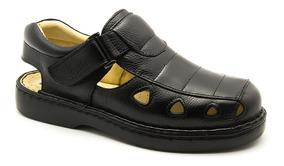 Sandália Masculina 302 Em Couro Floater Preta Doctor Shoes