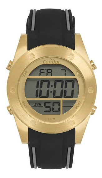 Relógio Masculino Digital Condor Dourado Pulseira Silicone