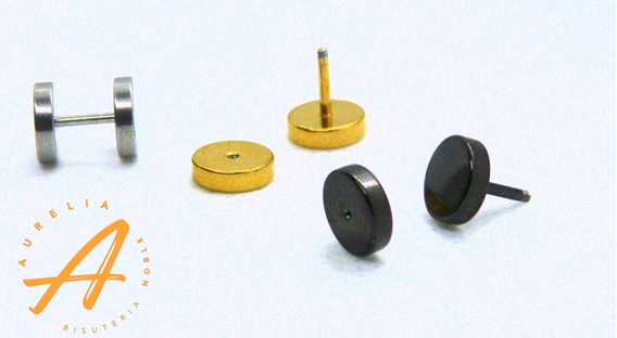 Piercing Expansor Falso Metalico Negro 2 Pzs Con Envio