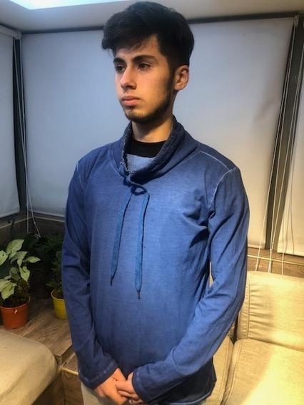 Remera Hombre De Algodon Benetton Original Azul