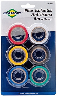 Kit 6 Fita Isolante Coloridas 5m 19mm Antichama Fios Cabo