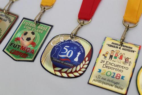 Imagen 1 de 10 de 100 Medallas Metal Lámina Resina Deportivas Premiación