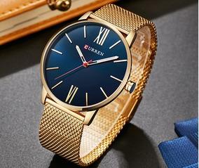 Reloj Dorado Curren Cuarzo Lujo Acero Inoxidable Calidad