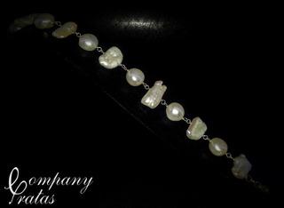 Pulseira Pearls Perolas Prata De Lei + Garantia Vitalícia