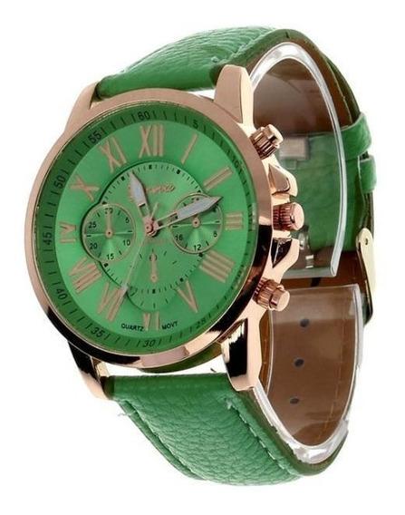 Relógio Feminino Marca Geneva Algarismos Romanos Cor Verde.