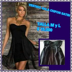 Vestido De Gala Chifon Y Gasa M Y L Negro