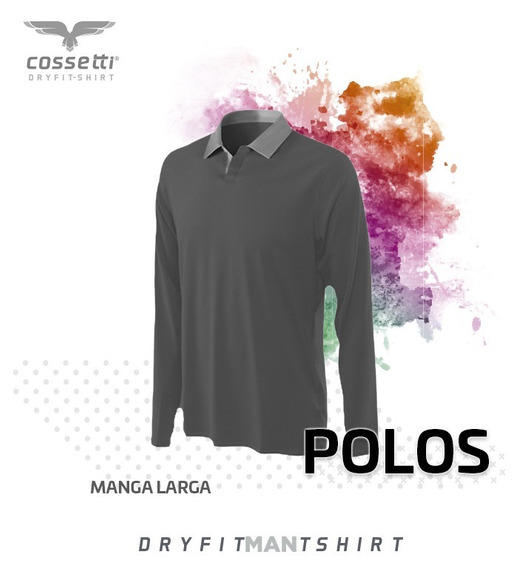 Playera Tipo Polo Cossetti Manga Larga Dry Fit Tallas Extras