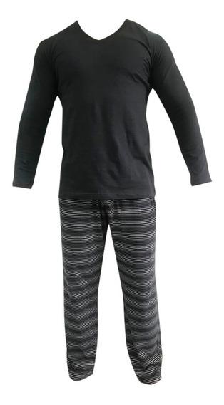 Pijama Eyelit Remera Lisa Y Pantalon Rayado En Algodón