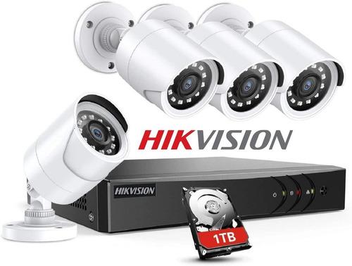 Imagen 1 de 9 de Kit 4 Camaras Seguridad Hd 720p Hikvision Dvr Disco Rigido 1tb