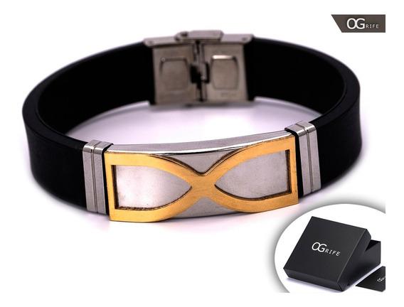 Pulseira Bracelete Masculino Ogrife J-415 Silicone Aço Inox