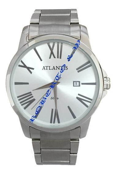 Relógio Masculino Atlantis Prateado Calendário Pronta Entreg