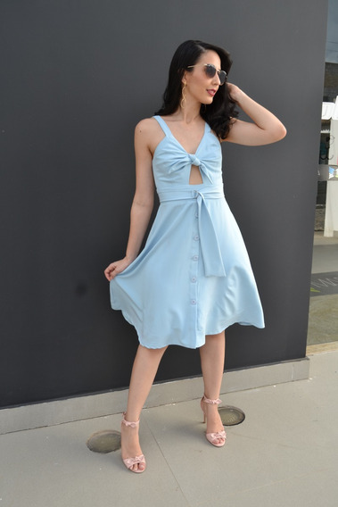 Vestido Rodadinho Na Cor Azul Celeste