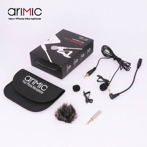 Microfone Arimic Lapela Celular Android iPhone Câmeras Dslr