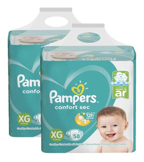 Kit Fralda Pampers Confort Sec Nova Super Tam. Xg 116 Unid