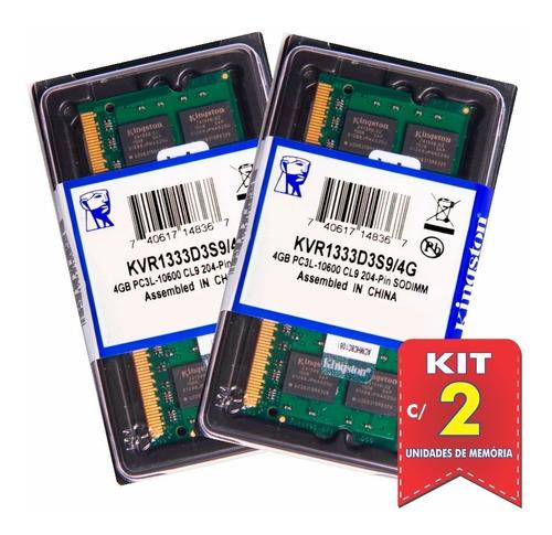 Memória Kingston Ddr3 4gb 1333 Mhz Notebook Kit C/ 02 Unid