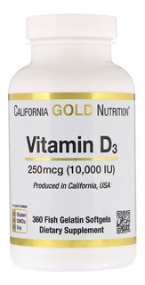 Vitamina D3 10000 Ui 360 Cápsulas Em Gel Made In Usa Lacrado