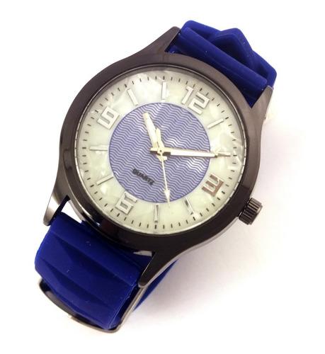 Relógio Feminino Quartz Com Pulseira Azul Em Borracha B5625