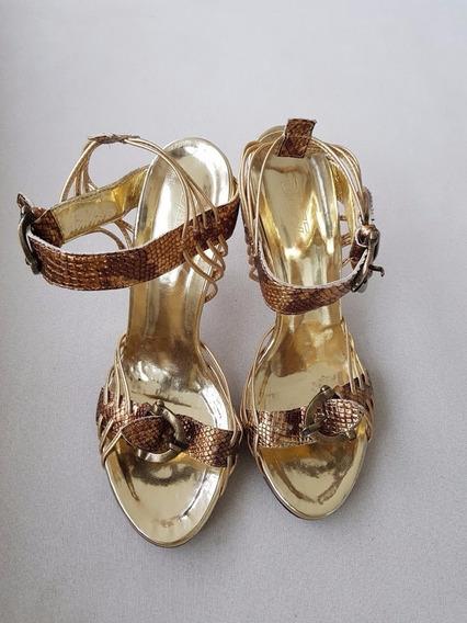Sandália Casamento Formatura Dazz Dourada Fashion Couro 36
