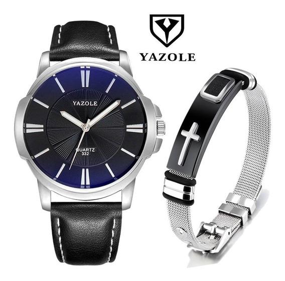 Kit Relógio Masculino Preto Yazole 332 + Pulseira Aço Inox