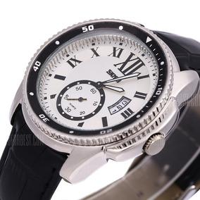 Relógio Skmei De Luxo Original Pulseira Couro Modelo 1135