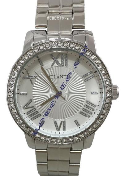 Relógio Feminino Original Atlantis Prateado Diamante + Caixa