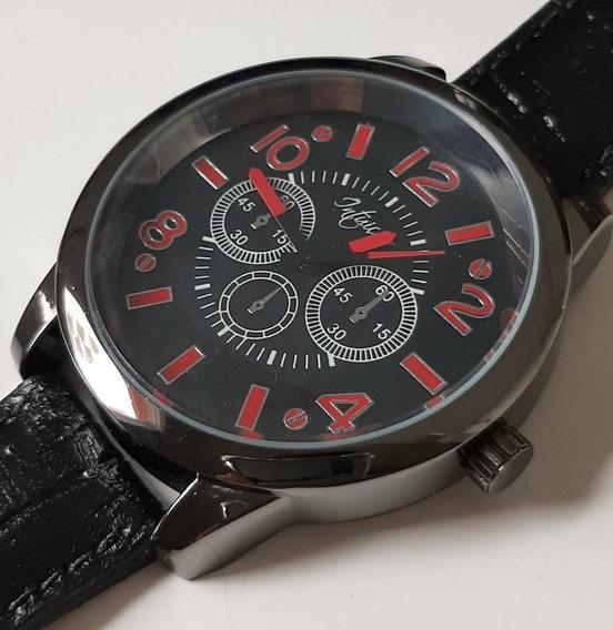 Relógio De Pulso Masculino Com Pulseira Em Couro