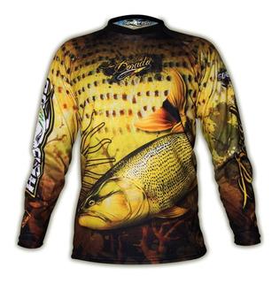 Remera Pesca Dorado Go Fish Uv Tela Secado Rapido + Llavero Anti Arrugas Termica Invierno Verano