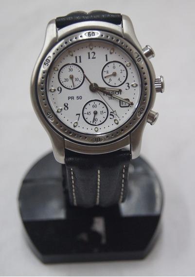 Relógio De Pulso Masculino Tissot Pr 50 Prata E Preto