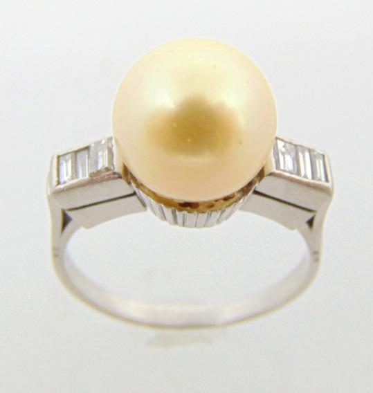 Anel De Pérola 10 Mm Em Platina E Diamantes - Happygold