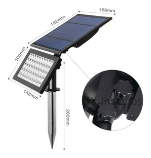 Proyector Led Litex 10w Solar Estaca Jardin Ip 65