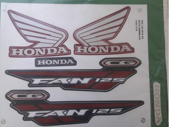 Kit Adesivos Honda Fan 125 Ks 2015 Vermelha