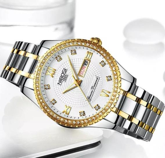 Relógio Feminino Nibosi Elegante Prata E Dourado Original