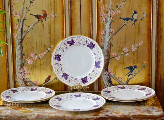 Juego Platos Playos X 6 Royal Worcester England Purple Vine
