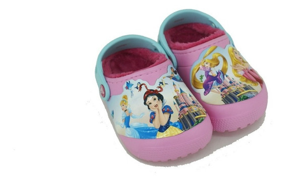 Sueco Croc Fun Lined Princesas Rosa Niña Deporfan