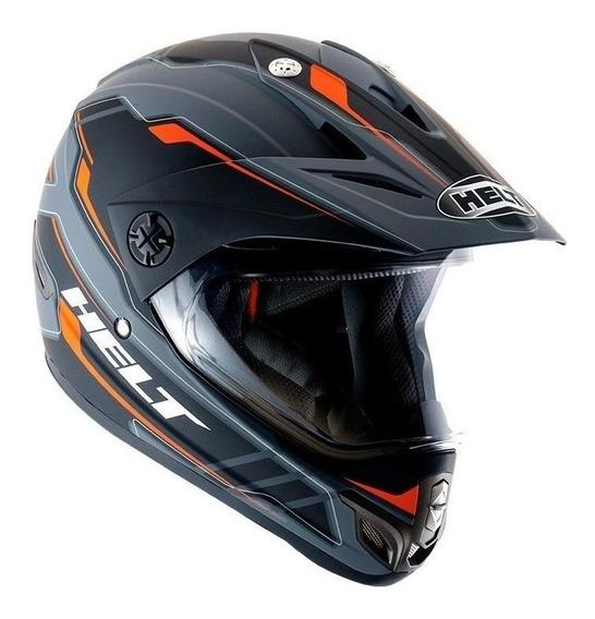 Capacete para moto Helt Cross Cross Vision Triller laranjaL