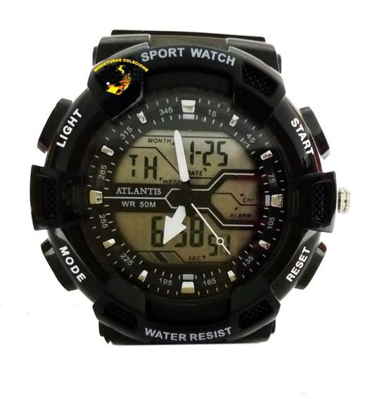 Relógio Masculino Esportivo Atlantis Anadigi G5553 Preto