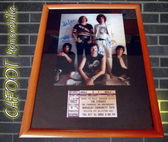 Cuadro The Strokes Foto Con Firmas Y Entrada Recital 2002