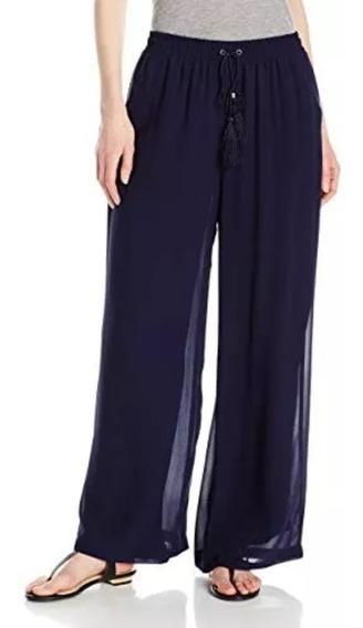 Pantalon Dama Talla L Palazzo Ny Collection Azul Marino