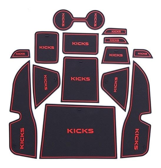 Kit Forro Porta Objeto Emborrachado Nissan Kicks 17 18 19 20