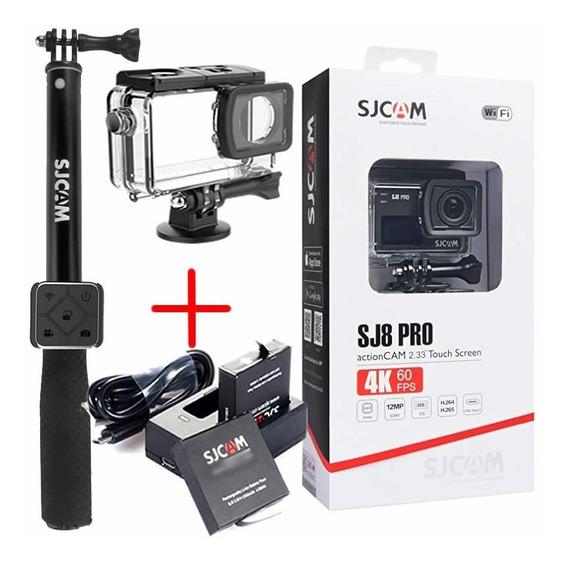 Câmera Sjcam Sj8 Pro + Controle Remoto + Bastão + 2baterias