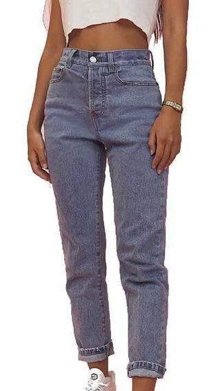 Pantalón Mom Jeans, Pantalón De Jean Rígido Mujer Moda
