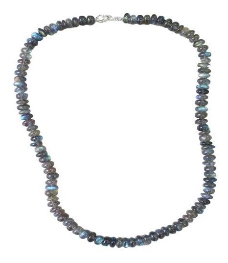 Colar De Labradorita Beads 7mm-7.50mm C/ Fecho Em Prata 925