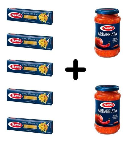 Imagen 1 de 1 de Fideos Barilla Spaghettoni 5 Paquetes + 2 Salsas Arrabiata