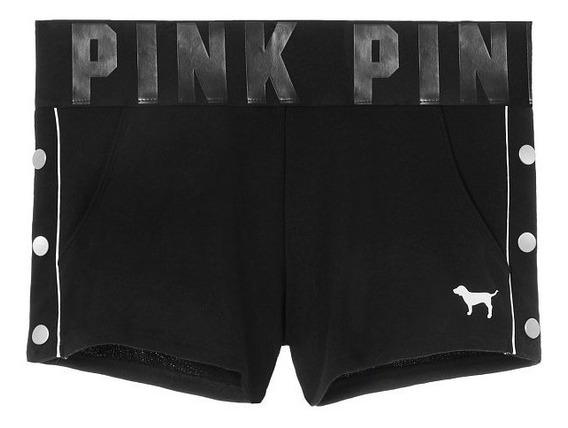 Short Negro Cintura Logos Tachas Pink M Victoria