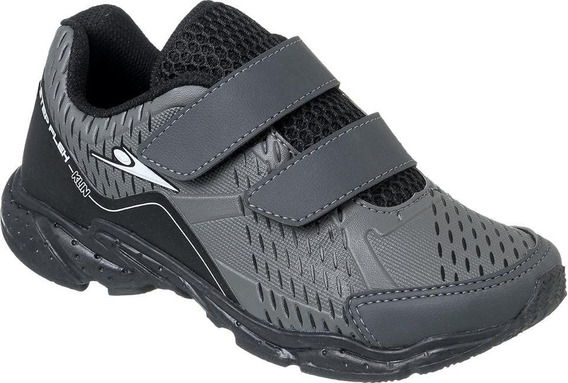 Tênis Klin Step Flex Infantil Kids Menino Cinza Velcro