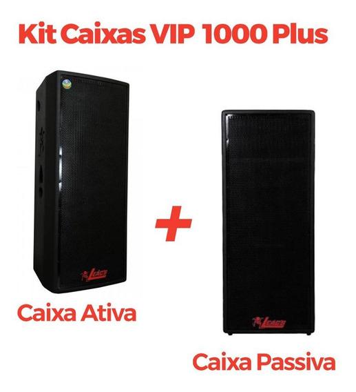 Kit Caixas De Som Leacs Vip 1000 Plus (ativa + Passiva)