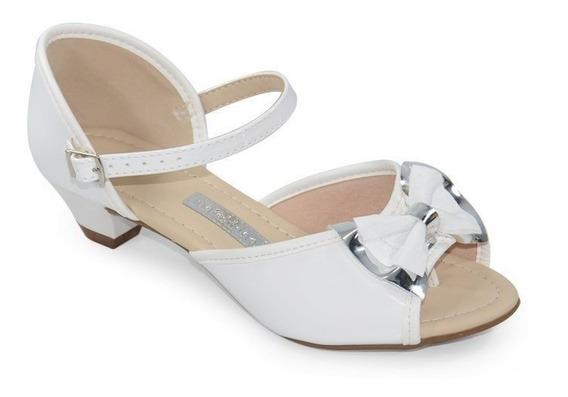 Sandália Salto Baixo Molekinha Verniz Branco - 2080305