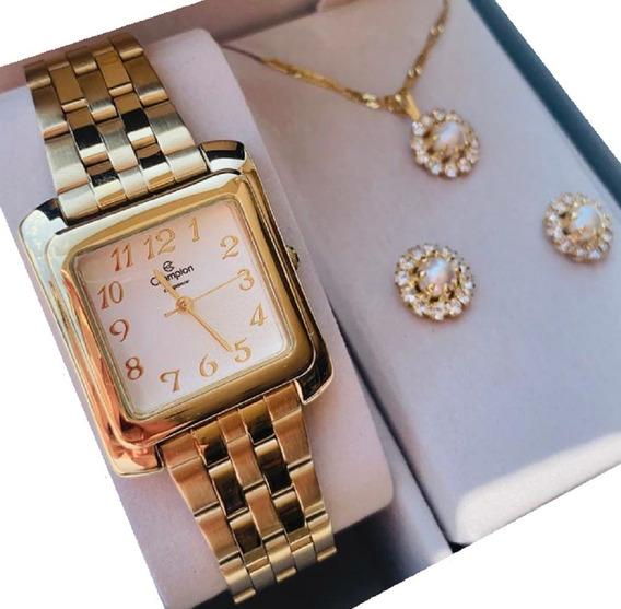Relógio Champion Feminino Quadrado Prata